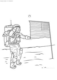 Первый человек на Луне - скачать и распечатать раскраску. Раскраска космос, космонавт, флаг