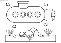 Подводная лодка - скачать и распечатать раскраску. Раскраска подводная лодка