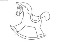 Лошадка-качалка - скачать и распечатать раскраску. Раскраска качалка, игрушка