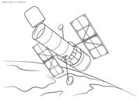 Орбитальная станция - скачать и распечатать раскраску. Раскраска космос