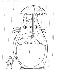 Тоторо под дождем - скачать и распечатать раскраску. Раскраска