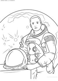 Нил Армстронг - скачать и распечатать раскраску. Раскраска космонавт