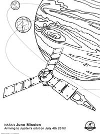 Прибытие на орбиту Юпитера - скачать и распечатать раскраску. Раскраска космос