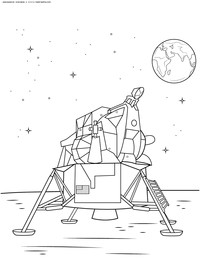 Луноход - скачать и распечатать раскраску. Раскраска луноход, земля, космос