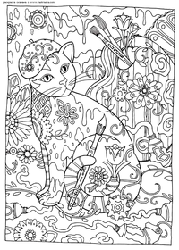 Кошка-художник - скачать и распечатать раскраску. антистресс, кошка