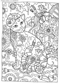 Кошка-художник - скачать и распечатать раскраску. Раскраска антистресс, кошка