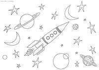 Космос - скачать и распечатать раскраску. Раскраска ракета, планеты, звезды