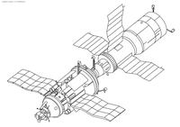 Космическая станция - скачать и распечатать раскраску. Раскраска космос