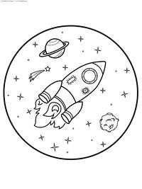 Полет в космосе - скачать и распечатать раскраску. Раскраска космос, ракета