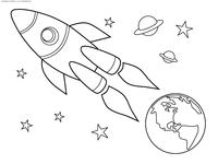 Ракета улетает от Земли - скачать и распечатать раскраску. Раскраска космическая ракета