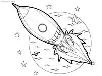 Космическая ракета - скачать и распечатать раскраску. Раскраска ракета