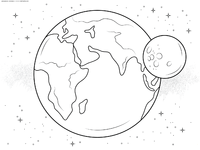 Планета Земля - скачать и распечатать раскраску. Раскраска планета