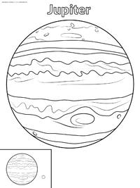 Планета Юпитер - скачать и распечатать раскраску. Раскраска юпитер
