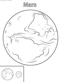 Марс - скачать и распечатать раскраску. Раскраска марс