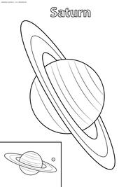 Планета Сатурн - скачать и распечатать раскраску. Раскраска сатурн