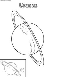 Планета Уран - скачать и распечатать раскраску. Раскраска планета