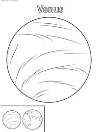 Планета Венера - скачать и распечатать раскраску. Раскраска планета
