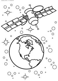 Станция на орбите  - скачать и распечатать раскраску. Раскраска космос
