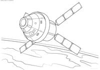 Космический спутник - скачать и распечатать раскраску. Раскраска спутник, космос