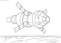 Космический спутник - скачать и распечатать раскраску. спутник, космос