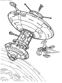 Космическая станция - скачать и распечатать раскраску. Раскраска станция, космос