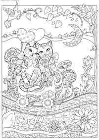 Кошки на прогулке - скачать и распечатать раскраску. Раскраска антистресс, коты