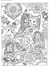 Кошка и куклы - скачать и распечатать раскраску. Раскраска кошка, кукла, антистресс