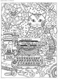 Кошка за пишущей машинкой - скачать и распечатать раскраску. Раскраска кошка, антистресс