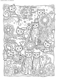 Девять жизней - скачать и распечатать раскраску. Раскраска кошки, антистресс