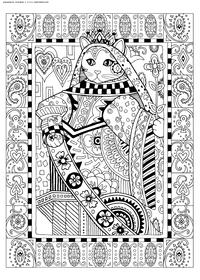 Королева Клео - скачать и распечатать раскраску. Раскраска кошка, антистресс