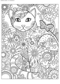 Кошка в цветах - скачать и распечатать раскраску. Раскраска кошка, антистресс