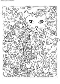 Кошка и бабочки - скачать и распечатать раскраску. Раскраска кошка, антистресс