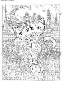 Кошки в городе - скачать и распечатать раскраску. Раскраска кошка, город, антистресс
