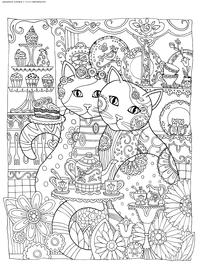 Кошки в кафе - скачать и распечатать раскраску. Раскраска кошка, антистресс