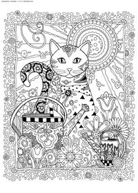 Кошка с саду - скачать и распечатать раскраску. Раскраска кошка, лейка, антистресс