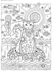 Кот на море - скачать и распечатать раскраску. Раскраска кот, антистресс, море