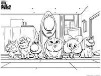 Тайная жизнь домашних животных 2 - скачать и распечатать раскраску. Раскраска Щенки, маленькие собаки