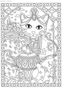 Чайная церемония - скачать и распечатать раскраску. Раскраска кошка, чайник, антистресс