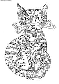 Кошка - скачать и распечатать раскраску. Раскраска кошка, антистресс