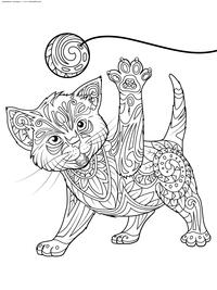 Котенок играет с клубком - скачать и распечатать раскраску. Раскраска котенок, кот, антистресс
