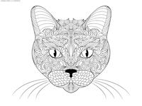 Кошка морда - скачать и распечатать раскраску. Раскраска кошка, антистресс