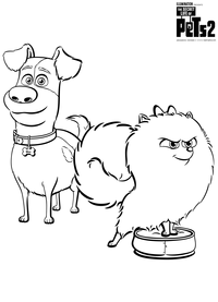 Макс и Гиджет - скачать и распечатать раскраску. Раскраска Собаки, домашние животные