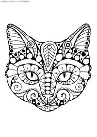 Кот - скачать и распечатать раскраску. Раскраска кот, кошка, антистресс