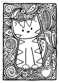 Милый котенок - скачать и распечатать раскраску. Раскраска котик, котенок, антистресс