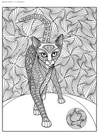 Кот играет с мячиком - скачать и распечатать раскраску. Раскраска кот, кошка, антистресс