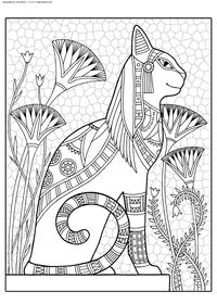 Кот-фараон - скачать и распечатать раскраску. Раскраска кот, антистресс