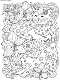 Коты с цветами - скачать и распечатать раскраску. Раскраска кошки, антистресс