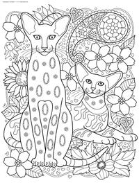 Коты сфинксы - скачать и распечатать раскраску. Раскраска кот, антистресс