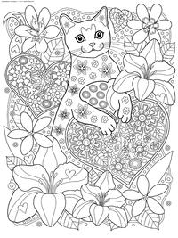 Кот с валентинкой - скачать и распечатать раскраску. Раскраска кот, антистресс