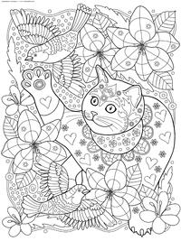 Кот следит за птицами - скачать и распечатать раскраску. Раскраска кот, птица, антистресс